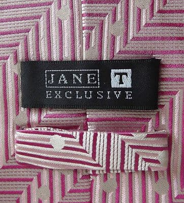Stylish polka dot tie by Jane T Exclusive pink silk for weddings